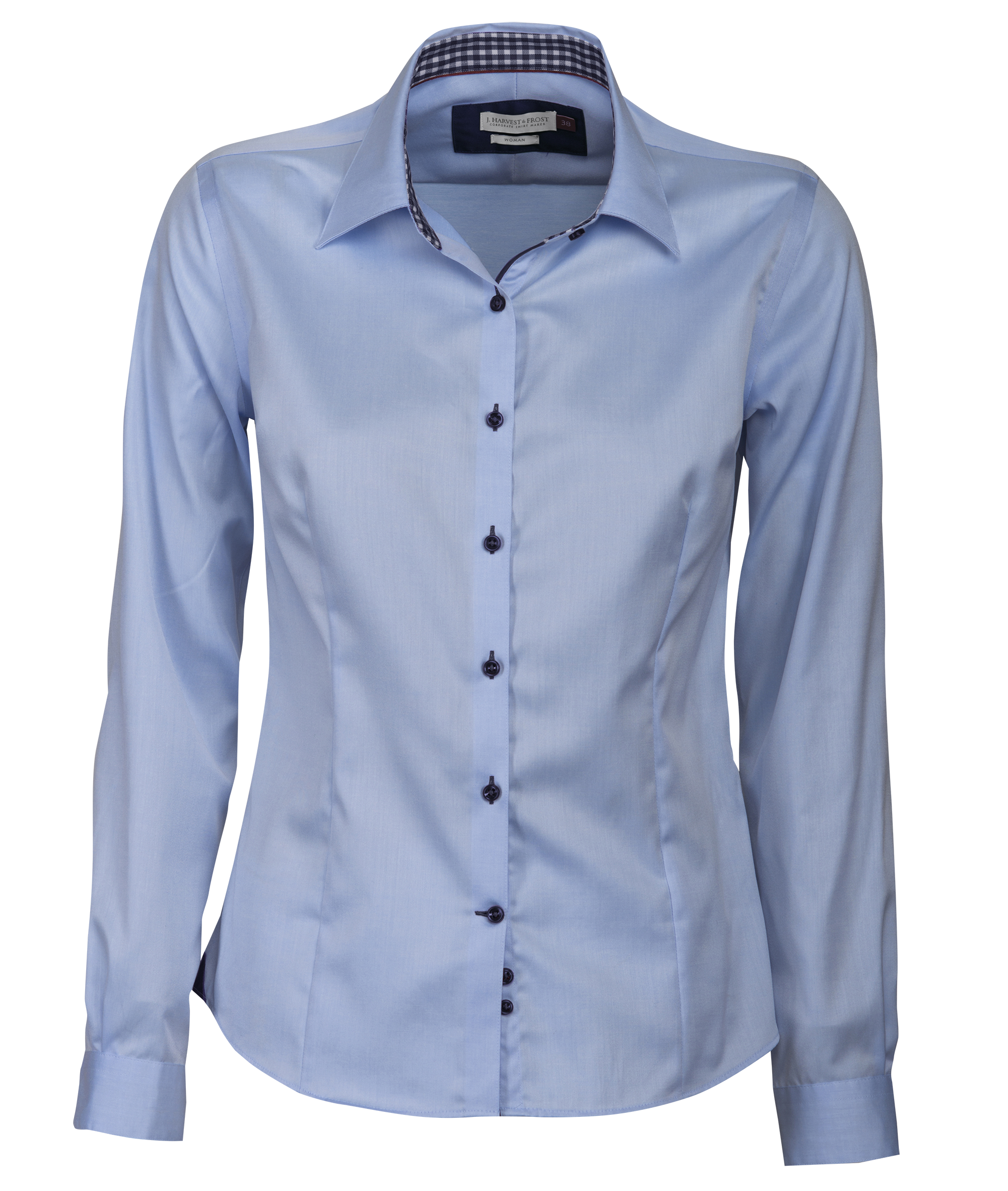 Ladies Red Bow 20 Shirt in Sky Blue with Navy Contrast
