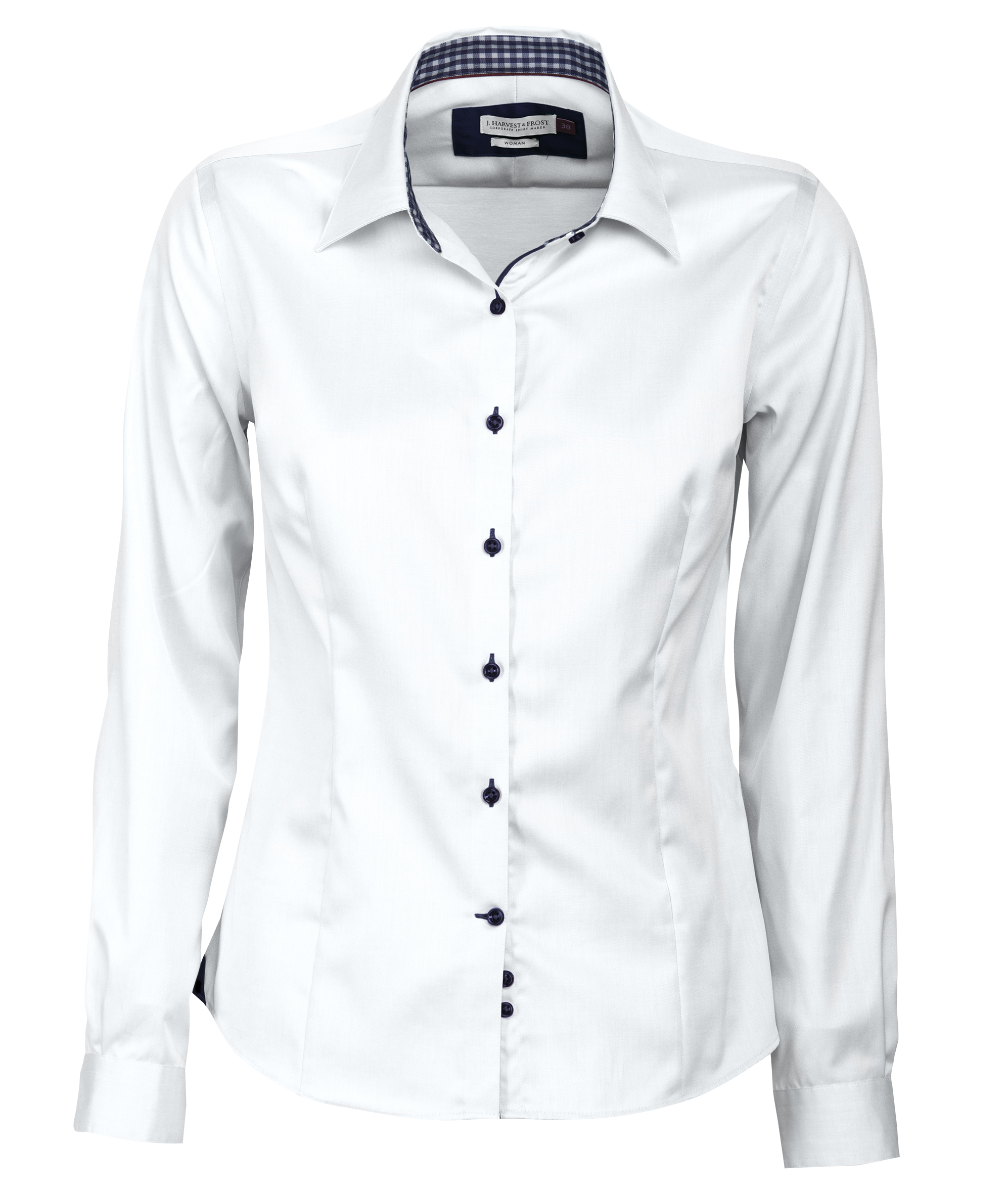 Ladies Red Bow 20 Shirt in White with Navy Contrast