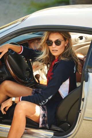 Model Wears Atlanta Jacket in Navy